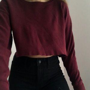 Cropped burgundy long sleeves